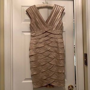 Adrianna Papella size 10 champagne cocktail dress